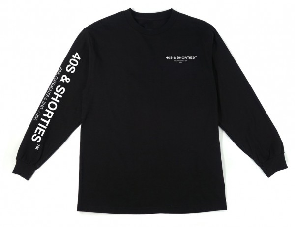 40s&Shorties General Text Logo LS Tee Black