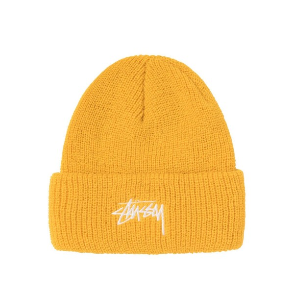 Stüssy Stock Cuff Beanie Yellow 01