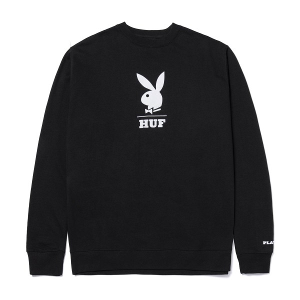 HUF Playboy Logo Crewneck Sweatshirt Black 01